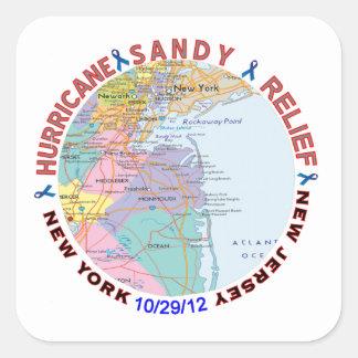 Conciencia del alivio de Sandy del huracán Pegatina Cuadrada
