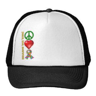 Conciencia del amor de la paz gorras