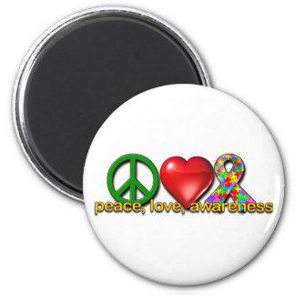 Conciencia del amor de la paz imán redondo 5 cm