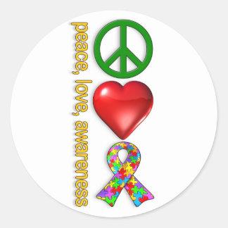 Conciencia del amor de la paz pegatina redonda