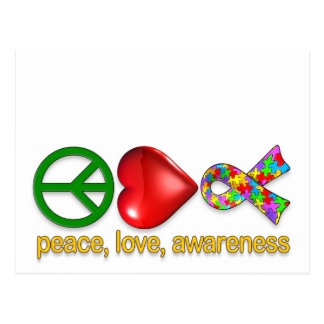 Conciencia del amor de la paz tarjetas postales