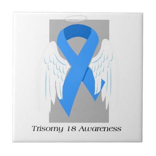 Conciencia del ángel del Trisomy 18 Azulejo Cuadrado Pequeño