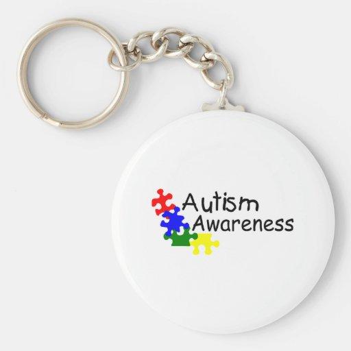 Conciencia del autismo (4 PP) Llavero Redondo Tipo Pin