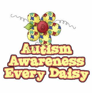Conciencia del autismo cada margarita (día) fotoescultura vertical