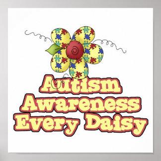 Conciencia del autismo cada margarita (día) póster