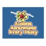 Conciencia del autismo cada margarita (día) tarjetas postales