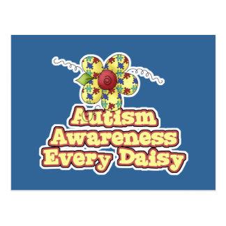 Conciencia del autismo cada margarita (día) postales