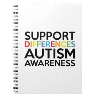 Conciencia del autismo de las diferencias de la spiral notebooks