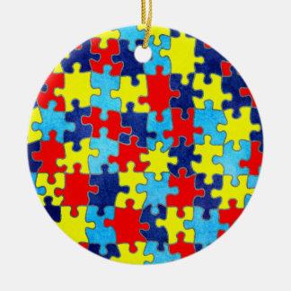 Conciencia del autismo adorno redondo de cerámica