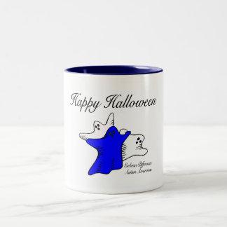 Conciencia del autismo del feliz Halloween Taza Dos Tonos
