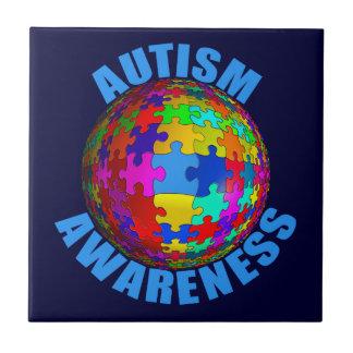 Conciencia del autismo del mundo azulejo cuadrado pequeño