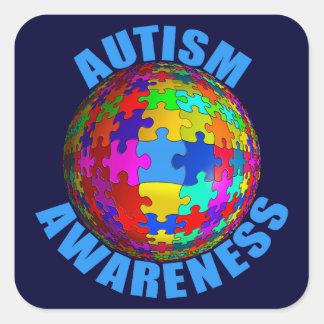 Conciencia del autismo del mundo pegatinas cuadradases personalizadas