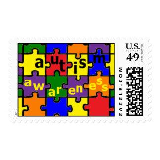Conciencia del autismo - edredón del rompecabezas timbres postales