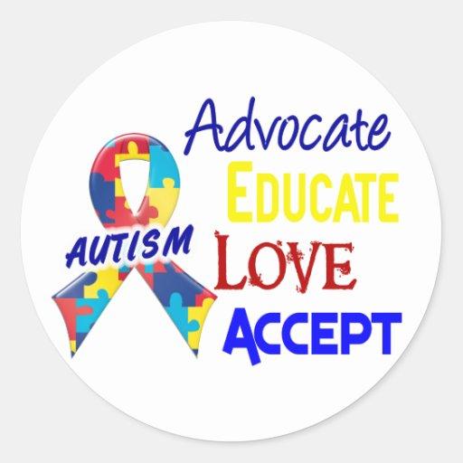 Conciencia del autismo etiquetas redondas