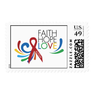 Conciencia del autismo - fe, esperanza, amor sello postal