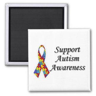 Conciencia del autismo imán cuadrado