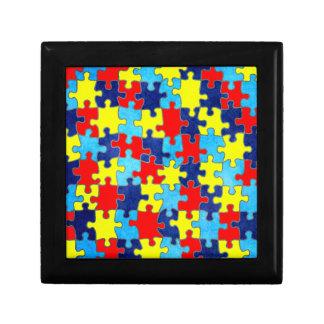 Conciencia del autismo joyero cuadrado pequeño