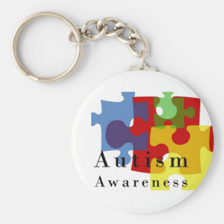 Conciencia del autismo llavero redondo tipo pin