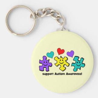 Conciencia del autismo llaveros personalizados