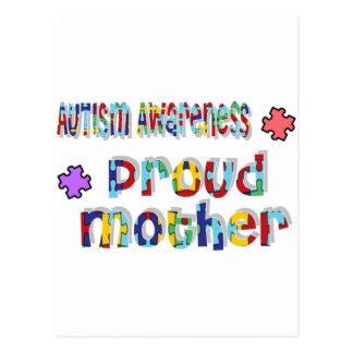Conciencia del autismo - madre orgullosa tarjetas postales