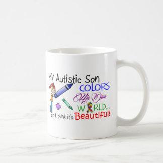 ¡Conciencia del autismo - mi hijo! Taza Básica Blanca