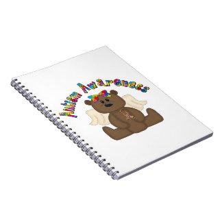 Conciencia del autismo (oso del chica) libretas espirales
