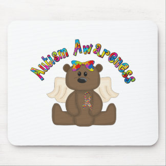 Conciencia del autismo (oso del chica) tapete de ratón