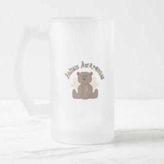 Conciencia del autismo (oso del muchacho) tazas