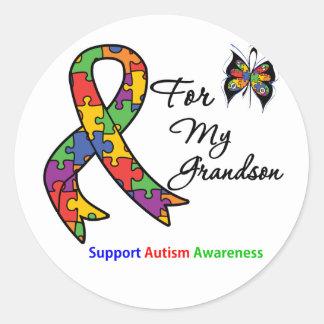 Conciencia del autismo para mi nieto pegatina redonda