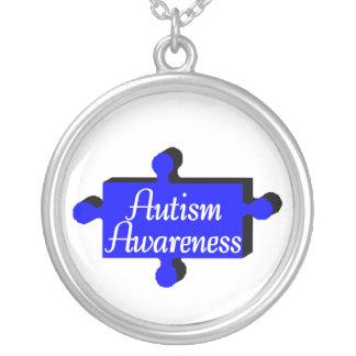 Conciencia del autismo (pedazo azul de P) Colgante Redondo