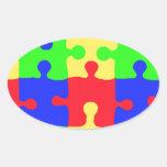 Conciencia del autismo pegatina óval personalizadas