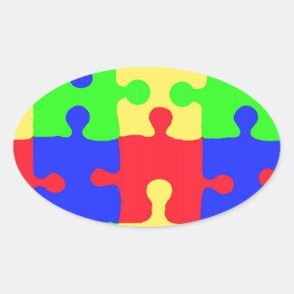 Conciencia del autismo pegatina ovalada