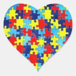 Conciencia del autismo calcomanía de corazón personalizadas