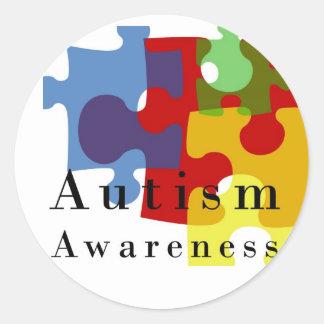 Conciencia del autismo etiqueta redonda