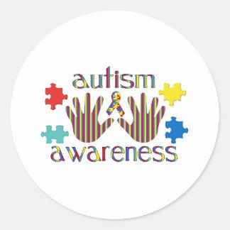 Conciencia del autismo pegatina redonda