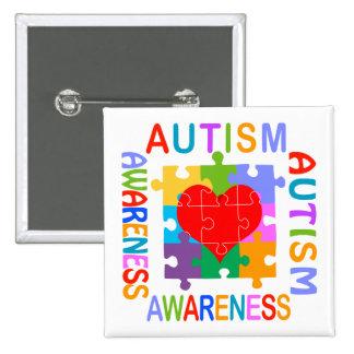 Conciencia del autismo pin cuadrada 5 cm