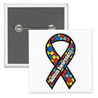 Conciencia del autismo pin cuadrado