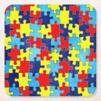 Conciencia del autismo posavasos personalizable cuadrado