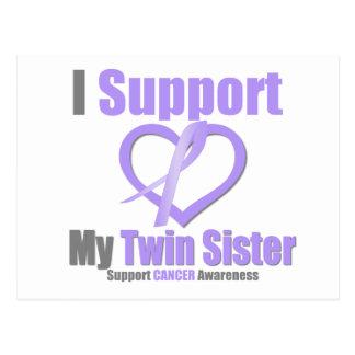 Conciencia del cáncer apoyo a mi hermana gemela tarjeta postal