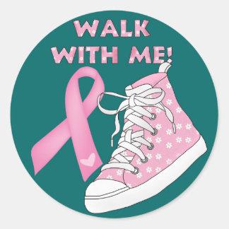Conciencia del cáncer - caminando para la curación etiqueta redonda
