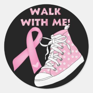 Conciencia del cáncer - caminando para la curación etiquetas redondas