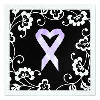 """Conciencia del cáncer - cinta blanca invitación 5.25"""" x 5.25"""""""