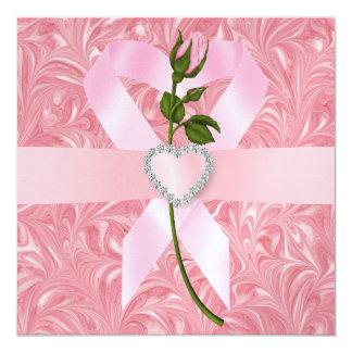 Conciencia del cáncer - cinta rosada invitaciones personales