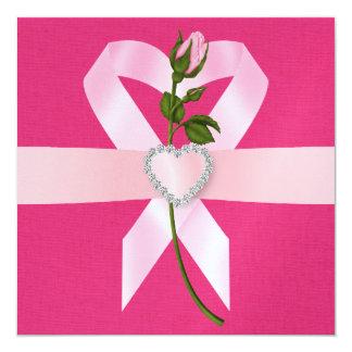 Conciencia del cáncer - cinta rosada invitaciones personalizada