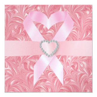 Conciencia del cáncer - cinta rosada invitacion personalizada