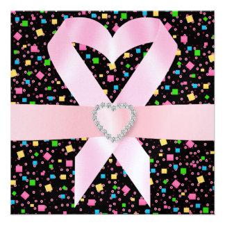 Conciencia del cáncer - cinta rosada invitación