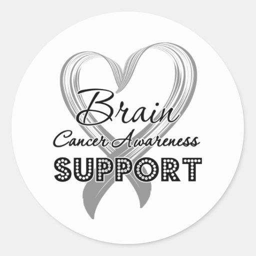 Conciencia del cáncer de cerebro de la ayuda etiqueta redonda