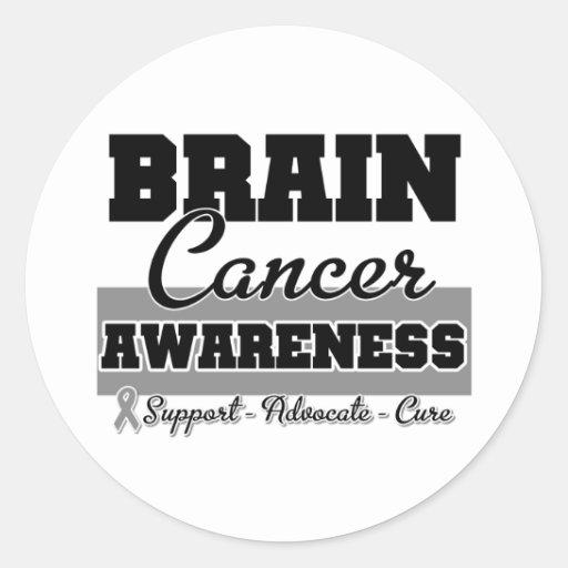Conciencia del cáncer de cerebro etiquetas redondas