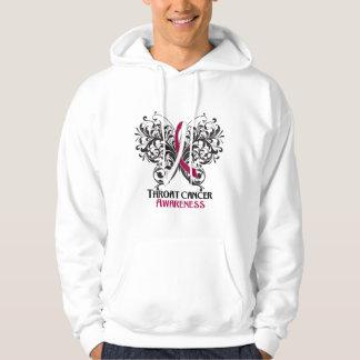 Conciencia del cáncer de garganta de la mariposa suéter con capucha
