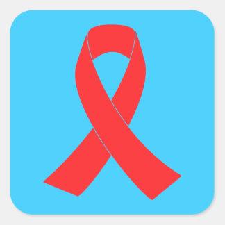 Conciencia del cáncer de la cinta del SIDA del VIH Pegatina Cuadrada